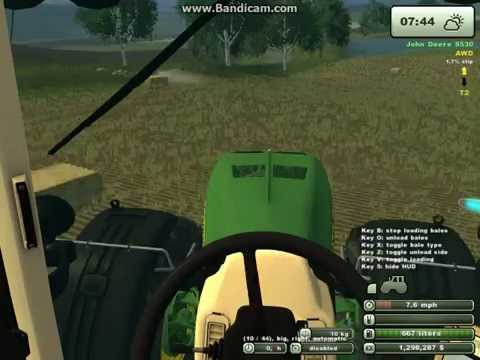 Farming Simulator 2013:Collecting bales with auto stack.