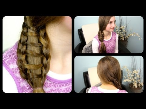 Steps to do a Ladder Braid ▶ Ladder Braid Side Ponytail