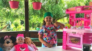 Emma Pretend Play Cooking with Kitchen Toy | Funny Breakfast with Baby Dolls
