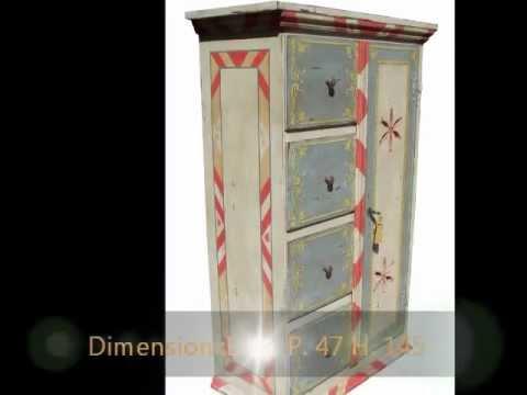 Dispense mobili artigianali da cucina in stile tirolese dipinta decorata laccata a mano in  legno