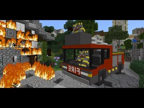 Fire engine In minecraft ?!?! (Mcpe addon)