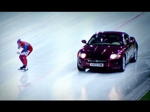 Speed Skater Vs Jaguar XK on Ice! – Top Gear Winter Olympics – BBC