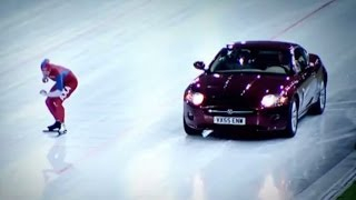 Speed Skater Vs Jaguar XK on Ice! - Top Gear Winter Olympics - BBC