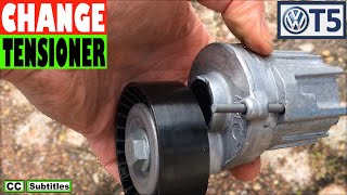 How to replace Serpentine Belt Tensioner VW T5 2010-2015 Power Steering Failure Belt Change