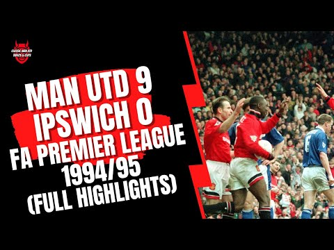 Full match highlights from the 1994/95 game between Manchester United and Ipswich Town from Old Trafford.