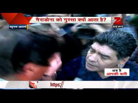 Diego Maradona slaps journalist for 'winking at ex-wife'