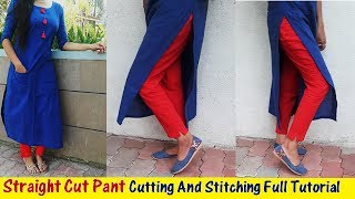 DIY :Straight Cut Pant Cutting And Stitching Full Tutorial Part-2