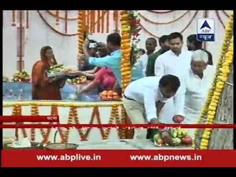 Lalu Prasad Yadav celebrates Chhath Pooja with wife Rabri in Patna