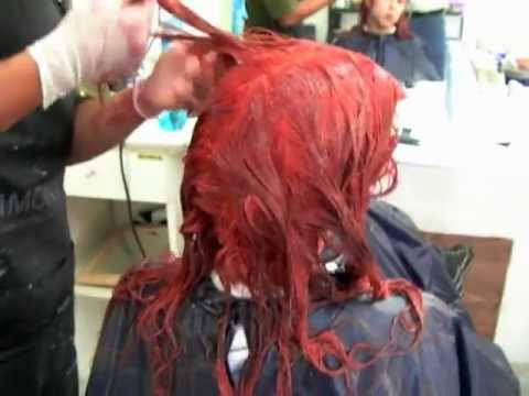 Black to Red Complete Hair Bleaching Tutorial - Negro a Rojo Decoloración Completa del Cabello