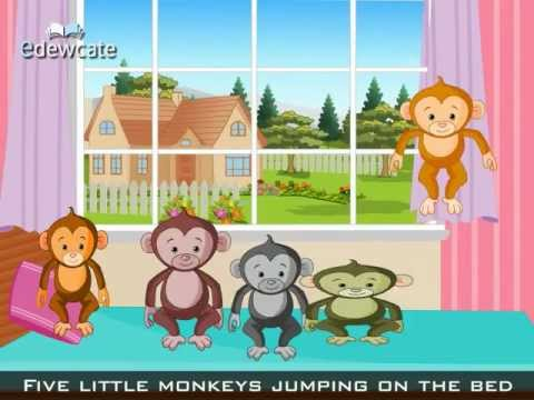 Edewcate english rhymes – Five Little Monkeys Jumping on the Bed