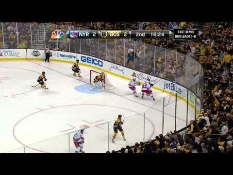 Rick Nash far side snapshot goal 2-2 May 19 2013 NY Rangers vs Boston Bruins NHL Hockey