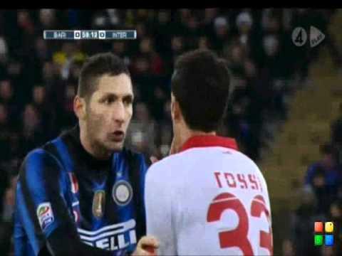Bari - Inter Cristian Chivu Knock Marco Rossi! [2011-02-03]