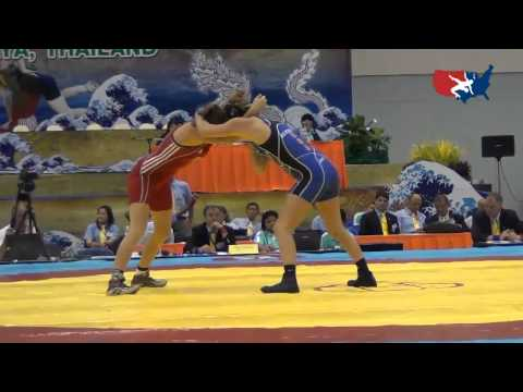 2012 Junior Worlds - FW 55kg - Sarah HIldebrandt (USA) vs. Yarina Dubovska (AZE)