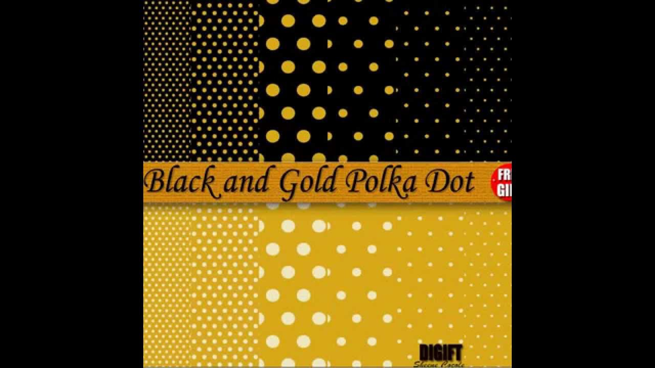 Yellow And Black Polka Dot Background Black and Gold polka dot
