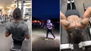 Antonio Brown Working On Catching At Night, Hits The Gym For Some Extra Work