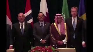 الجبير يهين وزير خارجية قطر أمام الكاميرات في نيويورك