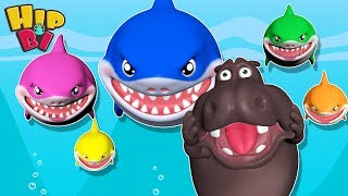 Funny Hippo with Baby Shark Family - Songs for Kids - Best Nursery Rhymes Toddlers HipBi
