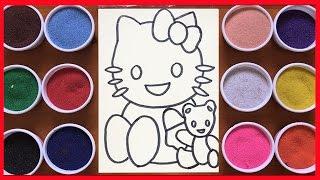 Đồ chơi trẻ em tô tranh cát mèo hello kitty ôm gấu teddy-colored sand painting