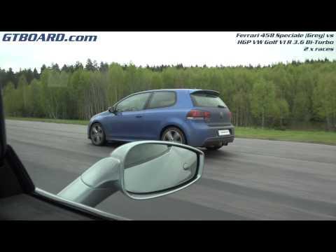 [4k] Grey Ferrari 458 Speciale vs HGP VW Golf VI R 3.6 Bi-Turbo in 4k Ultra HD x 2 races
