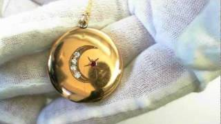 Victorian Period Diamond Locket (Circa 1890) - Gold Filled with 14k Chain