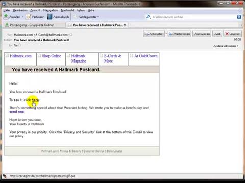 Phishing-Mail gibt sich als Hallmark-Postcard aus