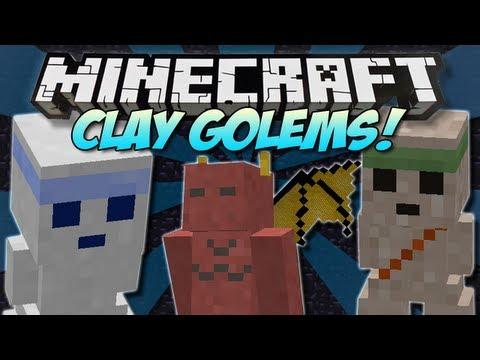 Minecraft CLAY GOLEMS More aggressive minions Mod Showcase 1.4.7