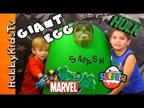 Worlds Biggest Hulk Surprise Egg! Marvel Toys Inside + Kinder Egg By Hobbykidstv video