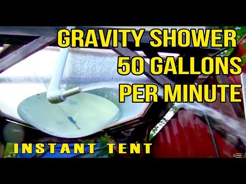 DIY instant Large Tent water parabola after a strong storm gravity siphon rainwater