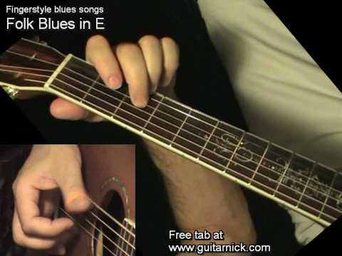 Folk Blues In E - Fingerstyle + TAB! Acoustic Guitar Lesson, Learn To Play