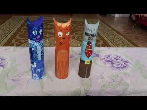 Котики из рулонов от бумажных полотенец.
