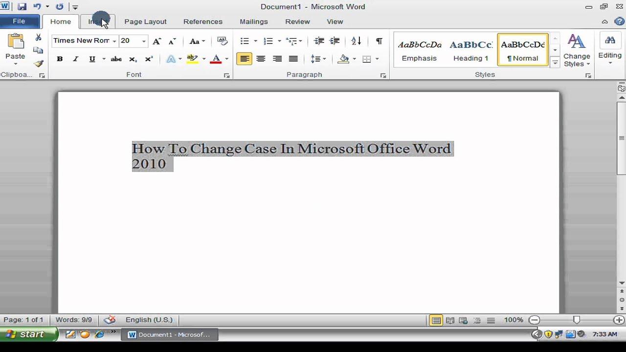 Change Letter Case In Word