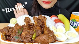 ASMR:SIMPLE AND EASY CHICKEN FRY *RECIPE*+EATING CHICKEN MASALA WITH RICE AND BOILED EGGS
