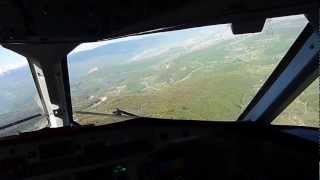 cockpit view of visual approach to Sarajevo airport