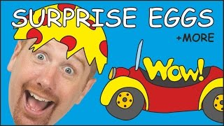 Surprise Eggs Toys Unboxing + MORE English Stories for Kids from Steve and Magggie | Wow English TV