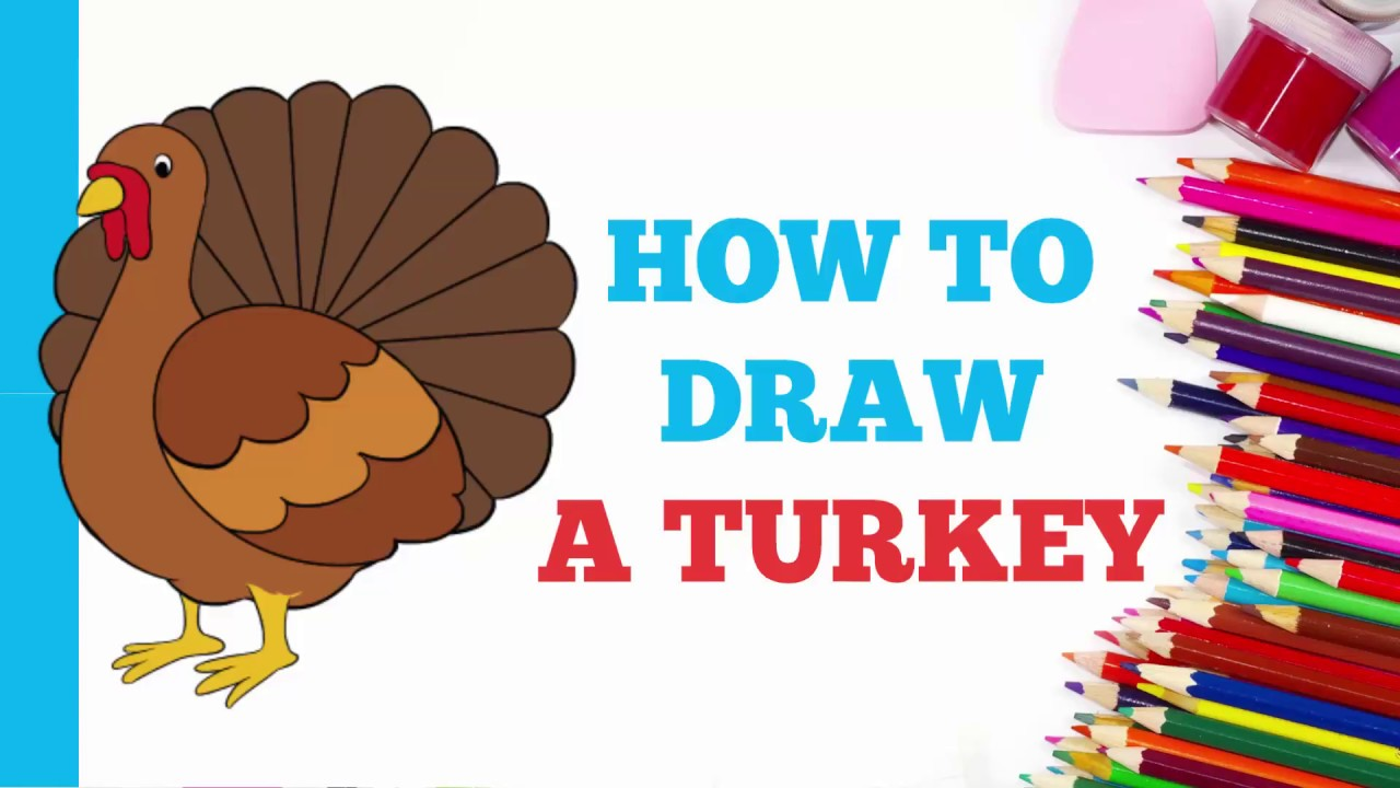 How to draw a cute turkey