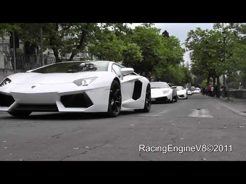 7x Lamborghini Aventador LP 700-4 Sound On The Road with Start Up - Rev - Drive By