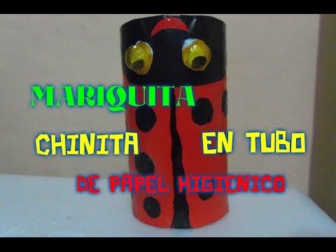 Mariquita (chinita) en cono de papel higiénico