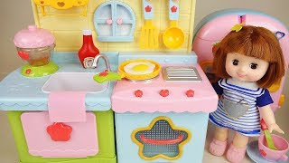 Baby doll kitchen food cooking play baby Doli house