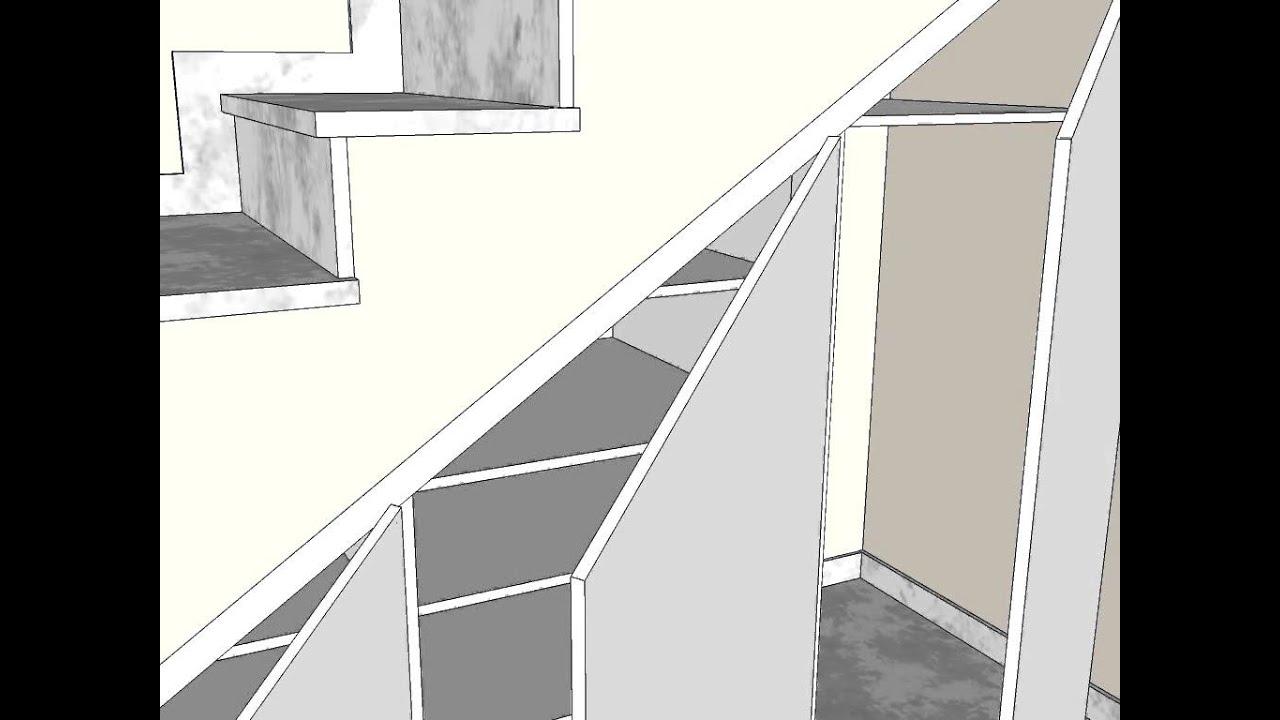 Armario bajo escalera 3 hojas carpinteria santa clara for Soluciones bajo escalera