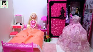 Barbie House. Bedroom. Morning routine. Barbie wardrobe set. Cuộc sống Barbie. Dress. Fashion