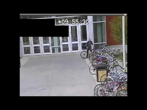 Surveillance video of a bike theft