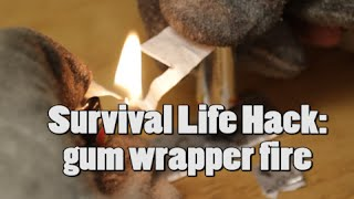 How to start a fire : Gum-wrapper & Batteries