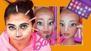 Intenté seguir un tutorial de maquillaje de barbie vlogs