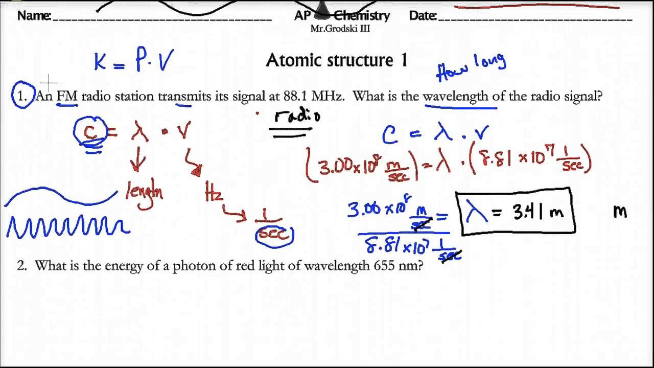 Atomic structure worksheet chemistry answers