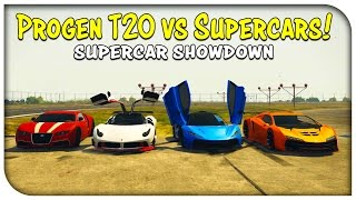 "GTA 5 Online - ""PROGEN T20"" NEW BEST CAR? (T20 vs Osiris vs Zentorno vs Adder) [Supercar Showdown]"
