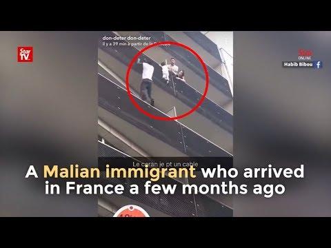 Held riskiert sein Leben um ein Kind zur retten in Paris
