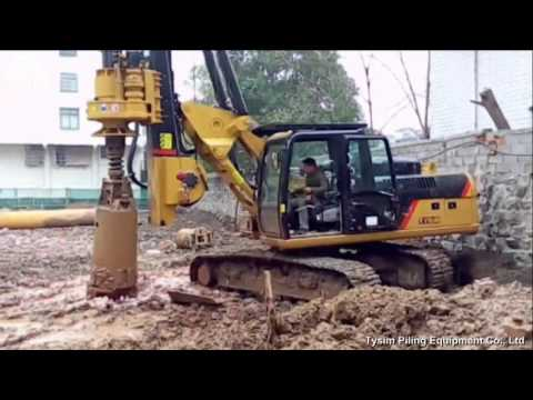 TYSIM KR90C Rotary drilling rig/hydraulic piling rig with CAT chassis.