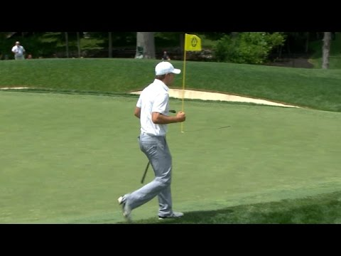 Jordan Spieth holes beautiful eagle chip at the Memorial