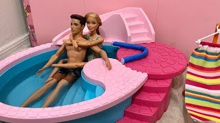 Barbie and Ken Morning Routine! Pool! Swim!