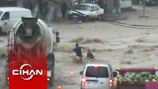 Ankara'da Vatandaşların Sele Kapılma Anı Kamerada